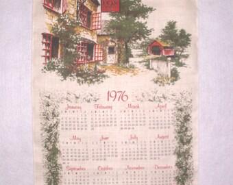 Vintage 1976 Calendar Kitchen Towel Linen Tea Towel Fox Inn Country Scene Rod Opening for Wall Hanging