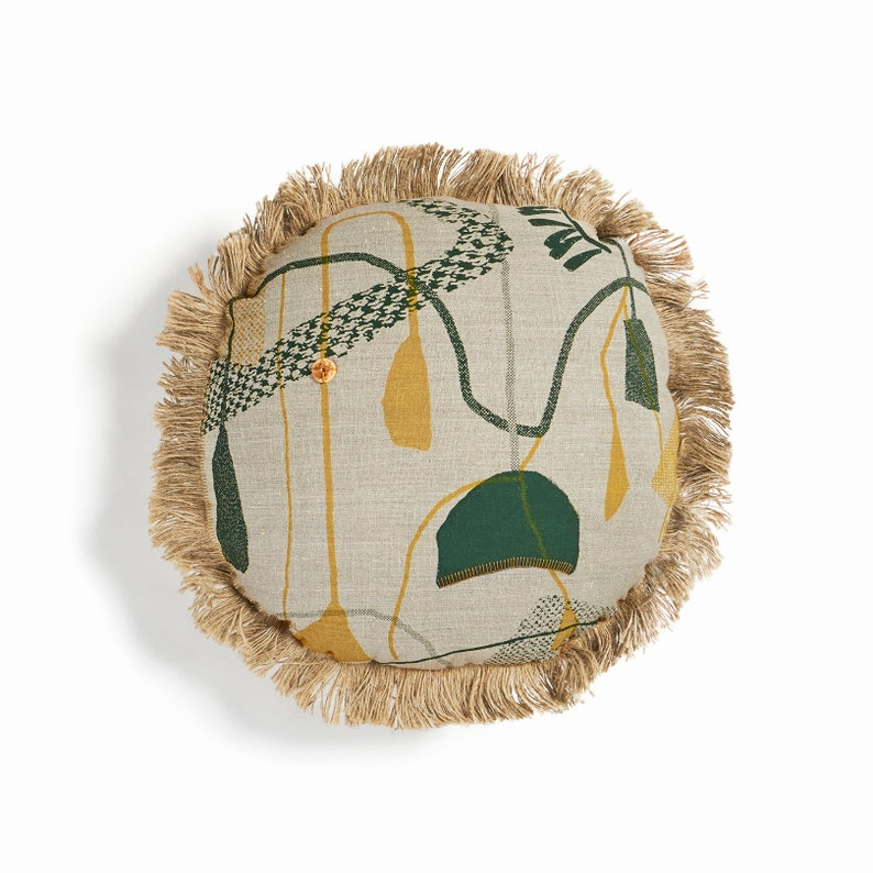 Eco friendly screen printed linen round cushion cover with image 0