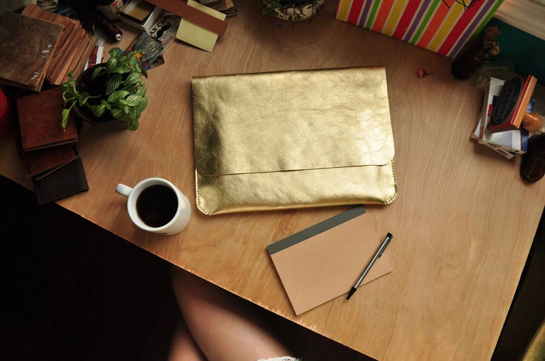 Gold Leather Clutch Gold Leather Sleeve Strapless Gold Purse