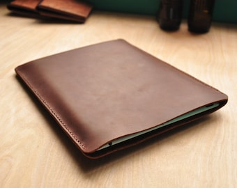 Custom Leather iPad Case / Surface Pro Pouch / Tablet Bag / Kindle Sleeve in Brown Full Grain Leather