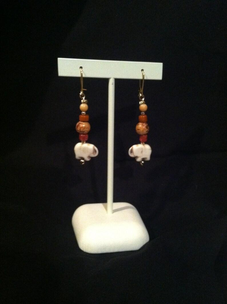 White Elephant orange stone and wood necklace and earring set