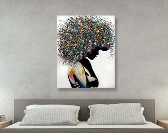 Canvas Picture Print Modern Art Lady In Park Colourful Painting  Poster