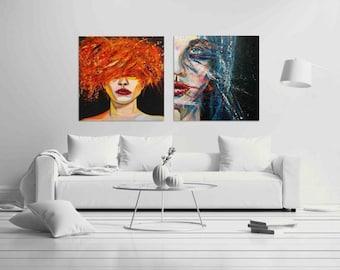 wall art print Set of 2 Prints Pop Art Couples- Print on ROLLED canvas