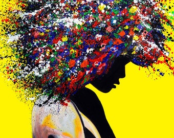 African American Art, Afro Woman Ready to Hang| Pop Art |Large Wall Art| Painting Print| living room wall art, Modern wall art