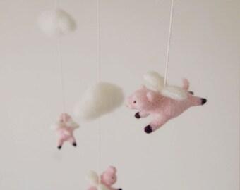 Nursery mobile - felted flying pig mobile - felted pig mobile - baby crib mobile - nursery decor