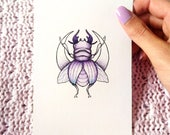 ORIGINAL . Beetle . Insect . Moon . Drawing