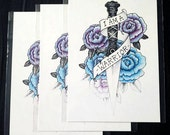 PRINT A5 . I am a warrior . Dagger . Flowers . Roses
