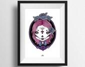 PRINT A4 . Dead girl with pink hair . Dia de los muertos . goth . skull