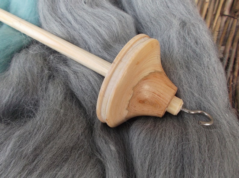 40 gram Uniquely Marked Ash Wood Drop Spindle with 2 Colour Kit NEW STYLE
