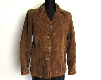 c98f065169fd9 Vintage Brown Suede Leather Jacket Fitted Jacket Blazer Coat Size L XL