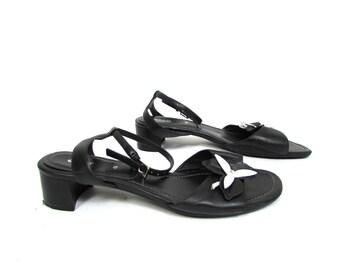 c6214daf9 Vintage 90 s Ecco Real Leather Black Sandals Slingback EUR 40 US 9 UK 6 1 2