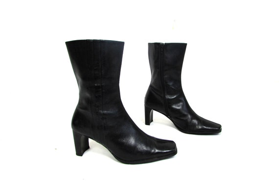 vintage 70 s 80 s black leather fitted boots go go etsy