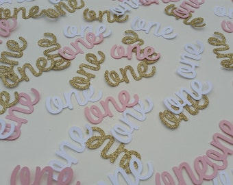 Age one confetti. Gold glitter, white and pink age one table confetti, invite fillers, cake toppers.