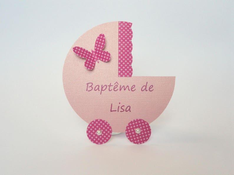 Faire Part Landau Bapteme Fille Rose Avec Un Papillon Fait Etsy