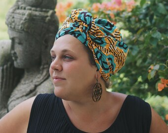 African Head Wrap, Colorful Head Scarf, African Print Headwrap, African Clothing, Afrocentric, Orange Print, African Headband, Wax (HS11)
