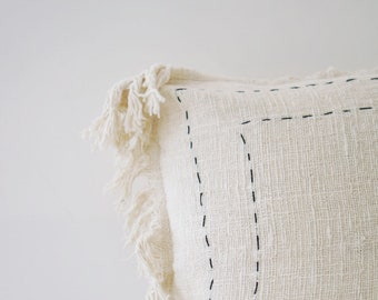 PILLOW COVER, Natural White Pillow Cover, Cotton Pillow Cover, Embroidery Details, Boho Home Decor, 20 x 20 (50x50cm)