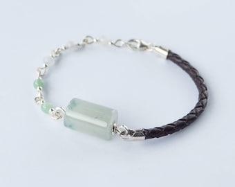 Barrel bead link PU leather beaded bracelet