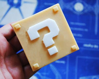 Mystery box,  Question Block-wedding favor, Super Mario game, geek soap