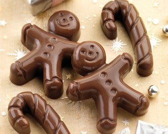 Handmade Christmas 2 x Large Gingerbread Men & 1 x Cane Soap – Christmas gift, stocking filler, Xmas Gift