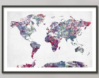 World map painting etsy world map watercolor painting giclee fine art modern abstract poster print wall art home decor decoration gumiabroncs Choice Image
