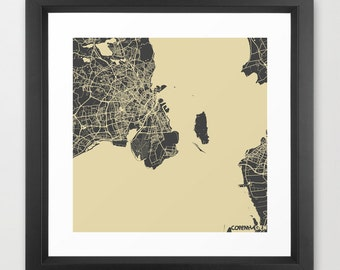 COPENHAGEN Map, Danemark, Giclee Fine Art, Modern Abstract, Poster Print, Wall Art, Home Decor, Decoration