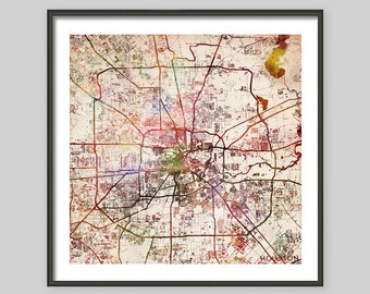 HOUSTON Map, Texas, Watercolor painting, Old paper, Giclee Fine Art, Modern Abstract, Poster Print, Wall Art, Home Decor, Decoration