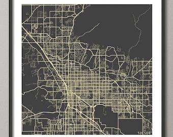 TUCSON Map, Arizona, Giclee Fine Art, Modern Abstract, Poster Print, Wall Art, Home Decor, Decoration