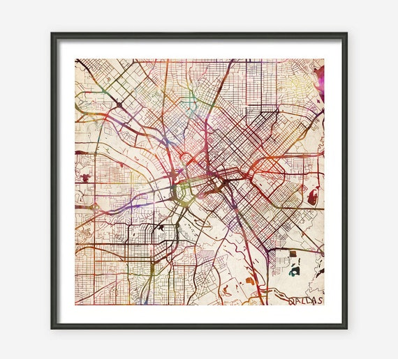 Old Dallas Map.Dallas Map Texas Watercolor Painting Old Paper Giclee Fine Etsy