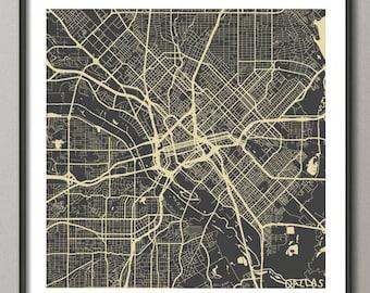 DALLAS Map, Texas, Giclee Fine Art, Modern Abstract, Poster Print, Wall Art, Home Decor, Decoration