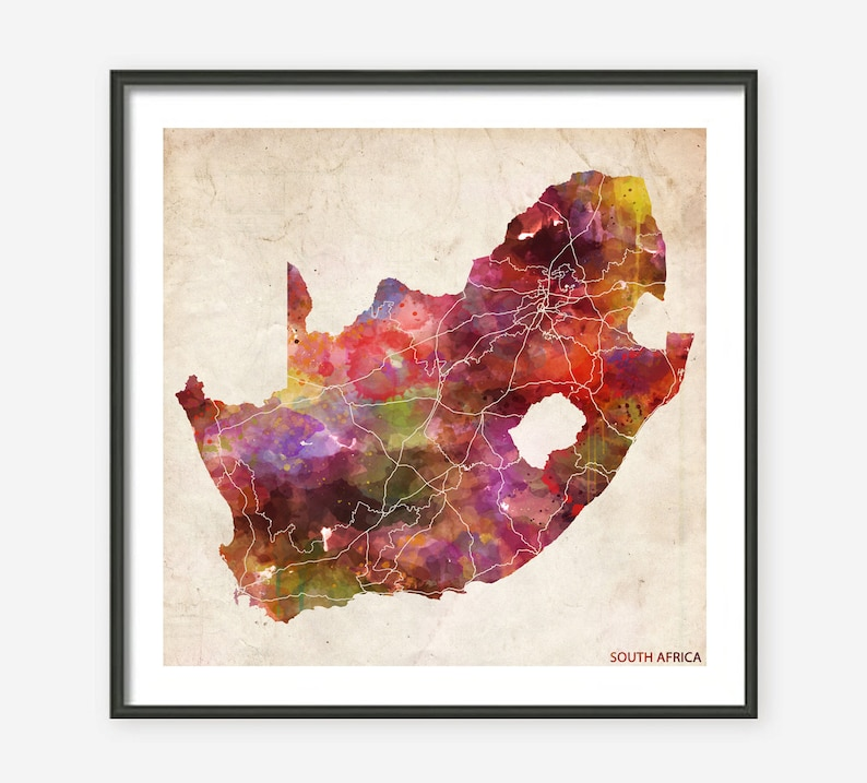 0e908e675b SOUTH AFRICA MAP Map of South Africa Watercolor painting