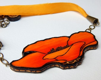 Orange California Poppy Necklace - Handmade & Eco friendly