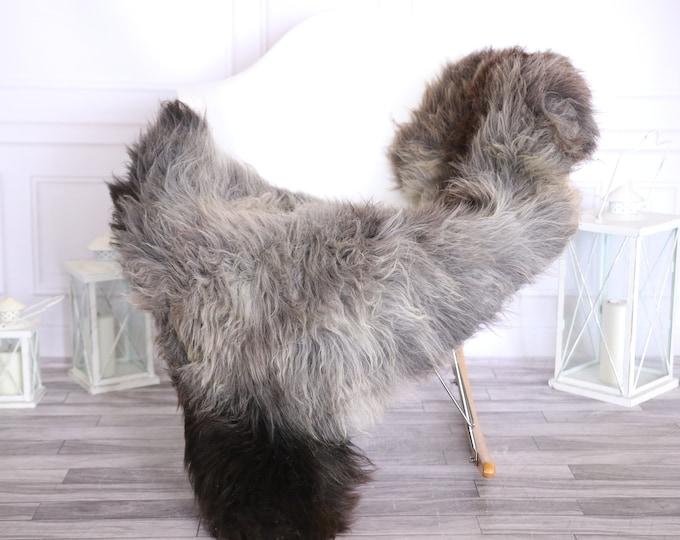 Sheepskin Rug | Real Sheepskin Rug | Shaggy Rug | Scandinavian Rug | | SCANDINAVIAN DECOR | Brown Gray Sheepskin #OLHER24