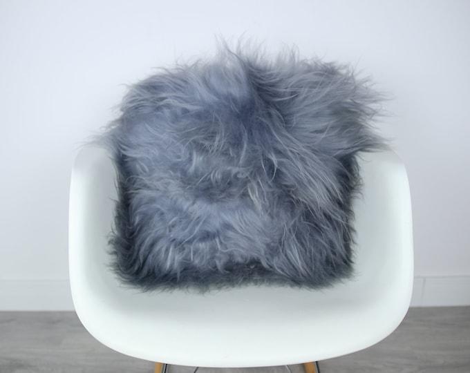 Sheepskin Fur Pillow, Real fur pillow, Gray fur pillow, Square sheepskin pillow, Grey pillow, scandinavian pillow, Both side fur