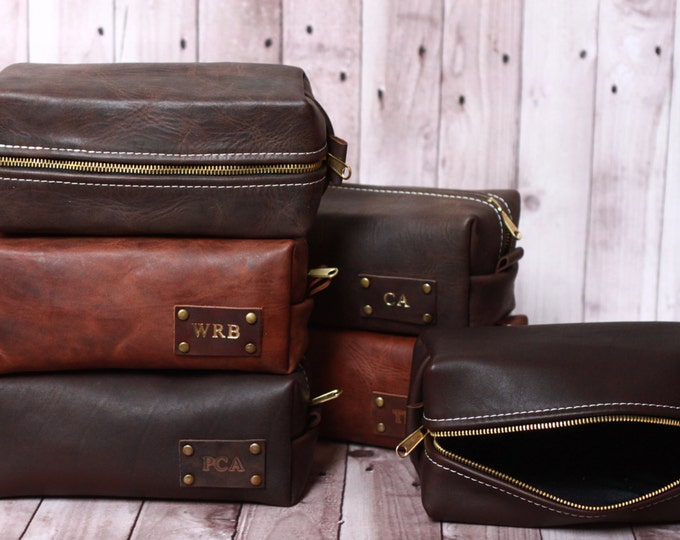 HANDMADE Men's Leather Toiletry Case Dopp Kit Shaving Bag OOAK Groomsmen Present Groomsman Gift Wedding