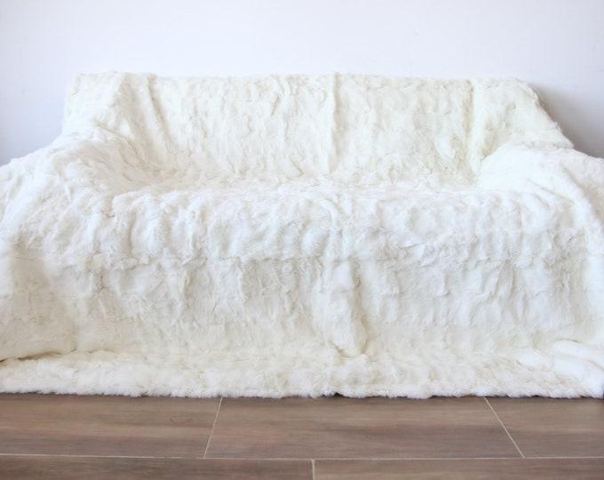 Exclusive Real Cremy White Rabbit Throw, Rabbit Fur, Super Soft Rabbit Throw