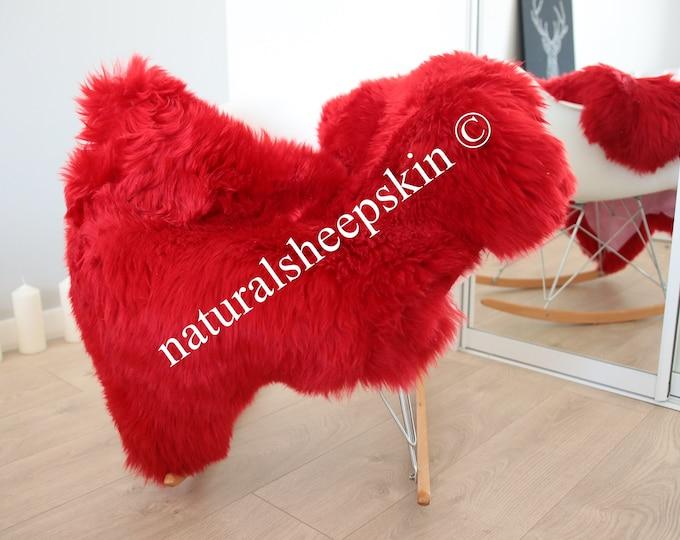 Genuine Natural Red Sheepskin Rug Sheepskin Throw  Scandinavian Style   Scandinavian Rug   Red Sheepskin