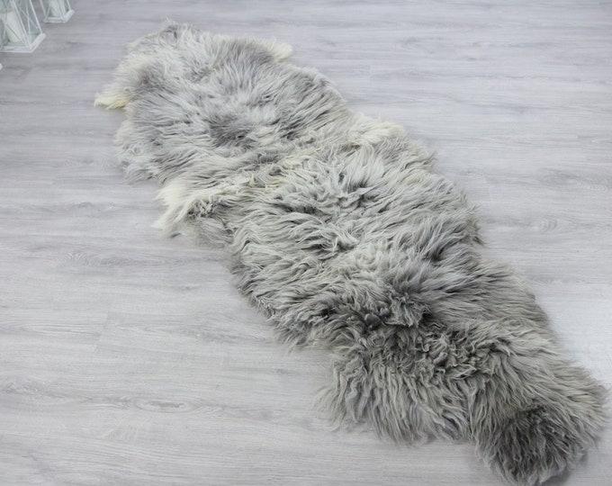 Double XXL Sheepskin Rug | Long rug | Shaggy Rug | Chair Cover | Runner Rug | Carpet | Gray White Sheepskin | Sheepskin Rug | Grayszy5