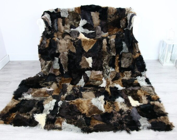 Luxurious Patchwork Toscana Sheepskin Real Fur Throw | Real Fur Blanket | Sheepskin throw | Blonde Black |Fu71