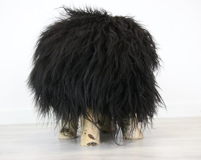Wood Stool | Black Fur Stool | Sheepskin pouf | Icelandic Sheepskin stool | Vanity Stool | Birch tree stool | black stool