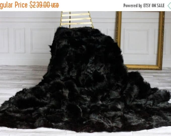 ON SALE Genuine Toscana Lamb Sheepskin Throw, Blanket, Rug, Black Bed Spread , Sofa Throw, Black Throw, Area Rug, BlackRug, Large Rug