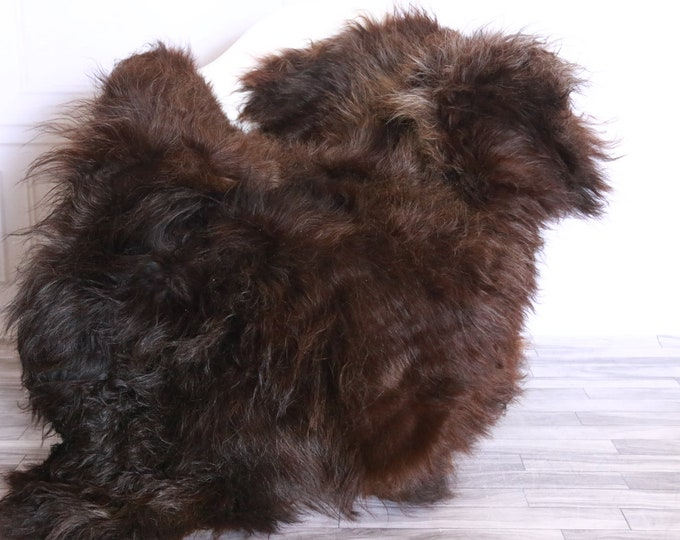 Icelandic Sheepskin | Real Sheepskin Rug | Sheepskin Rug Chocolate Black | Fur Rug | Homedecor #WRZISL26