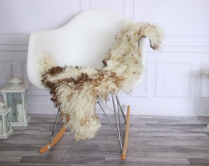 Genuine Rare Tuscan Lamb Sheepskin Rug - Curly Fur Rug - Natural Sheepskin - Beige Brown Sheepskin | Small Sheepskin #2MARGOT6