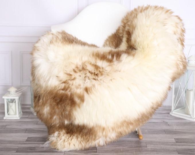 Sheepskin Rug | Real Sheepskin Rug | Shaggy Rug | Scandinavian Rug | | SCANDINAVIAN DECOR | White Brown Sheepskin #OLHER7