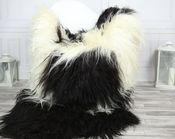 Icelandic Sheepskin | Real Sheepskin Rug | CHRISTMAS DECOR | Sheepskin Rug Black Ivory | Fur Rug | Homedecor #2ISL8