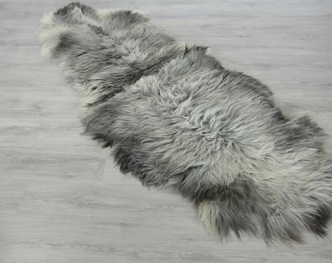 Double Sheepskin Rug Long rug Large Sheepskin Throw Chair Cover Sheepskin Carpet Gray Sheepskin Sheep Skin Rug | 2double11