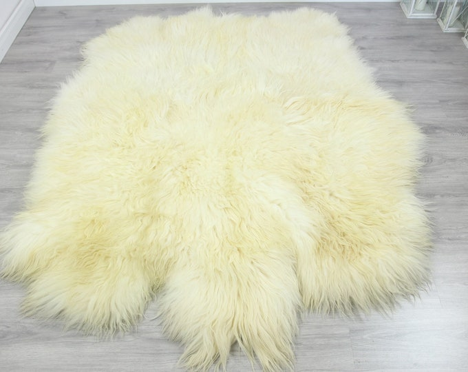Genuine Natural icelandic creamy white Sheepskin Rug, Giant sheepskin rug, sexto sheepskin rug