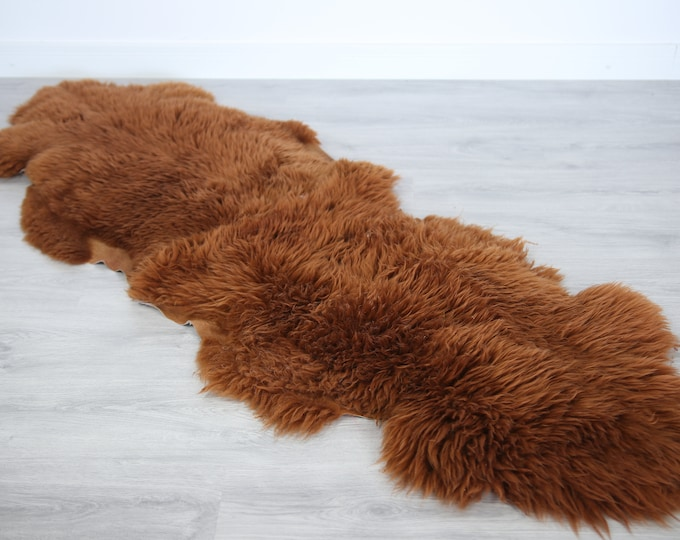 Double Sheepskin Rug Long rug Sheepskin Throw Chair Cover Runner Rug  Carpet  Copper Sheepskin Sheep Skin Rug | 2double1