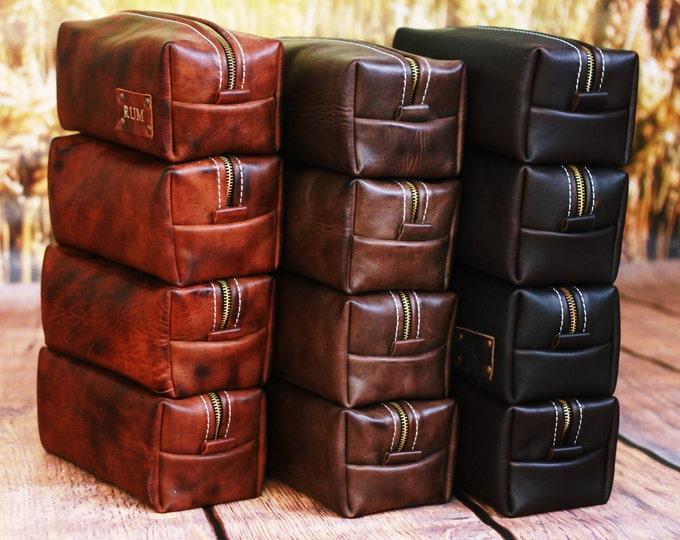 Leather Toiletry Bag Travel Shaving Dopp Kit with Free Monogram Gift for Man Groomsmen Groom Wedding