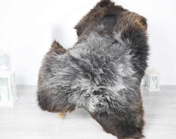 Sheepskin Rug | Real Sheepskin Rug | Shaggy Rug | Scandinavian Rug | Sheepskin Throw Brown Gray Sheepskin | SCANDINAVIAN DECOR | #3HER6