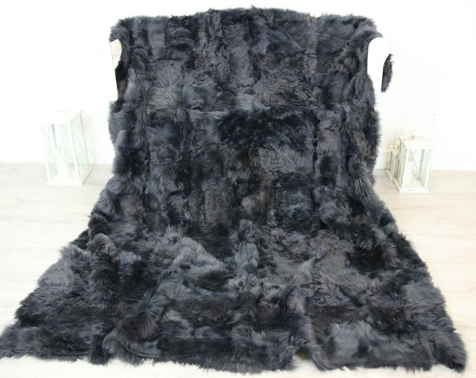 Luxurious Toscana Sheepskin Real Fur Throw | Real Fur Blanket | Sheepskin throw | Gray Throw